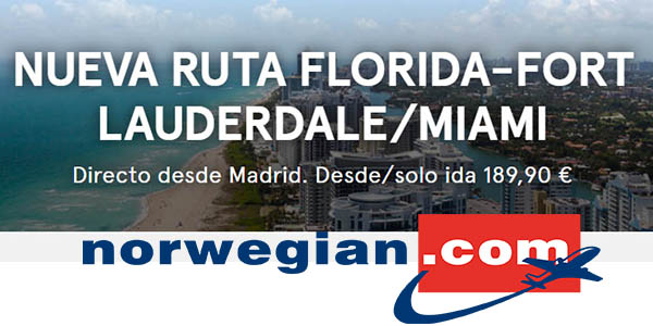 Norwegian vuelo Madrid - Miami barato