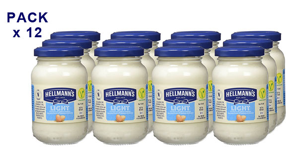 Pack de 12 botes de mayonesa Light Hellmann's (225gr/ud) barato en Amazon