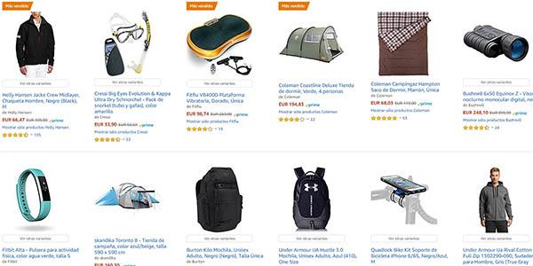 selección de productos de deporte y aire libre rebajados en Amazon España