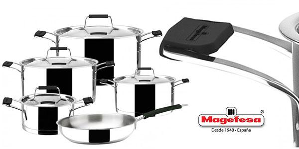 Set Batería de cocina Magefesa de 9 piezas de acero inoxidable (ollas y sartén) barato