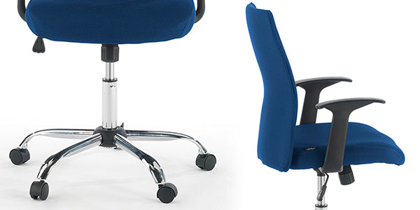 Silla giratoria de oficina Ofiprix Roma tapizada de color azul con altura ajustable barata