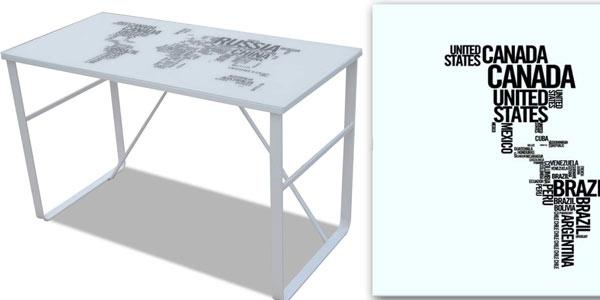 Mesa escritorio Anself de hierro y cristal templado barata en Amazon