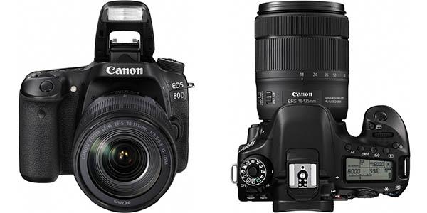 Cámara réflex Canon EOS 80D + objetivo 18-135 mm barata