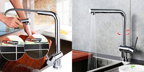 Chollo Grifo de fregadero Desfau 2 monomando giratorio con ducha extraíble