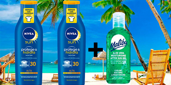 Chollo Pack de 2 botes Crema solar Nivea Factor 30 (250 ml) + After sun Malibu (100 ml)