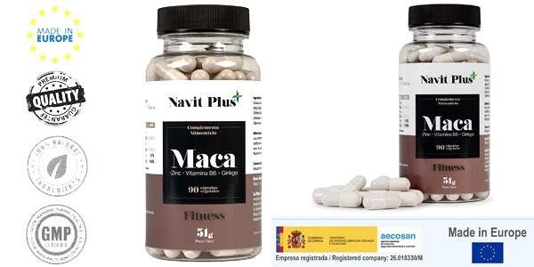Bote de 90 cápsulas de Extracto de maca con L-Arginina, Zinc, Ginkgo y Vitamina B6 de Navit Plus barato en Amazon
