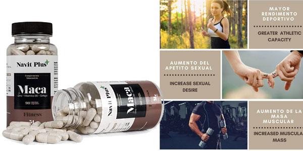 Bote de 90 cápsulas de Extracto de maca con L-Arginina, Zinc, Ginkgo y Vitamina B6 de Navit Plus chollo en Amazon