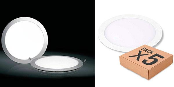 Pack de 5 focos LED Downlight plano de aluminio barato