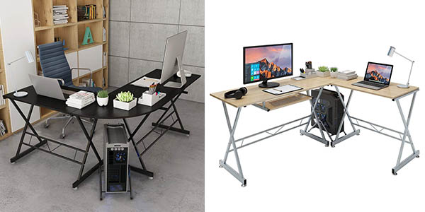 mesa escritorio doble con forma de ele Slypnos barata