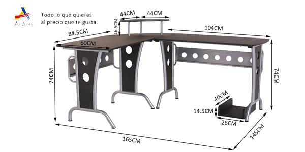 Mesa grande de oficina, estudio o despacho en L de 165x145x86 cm chollazo en eBay