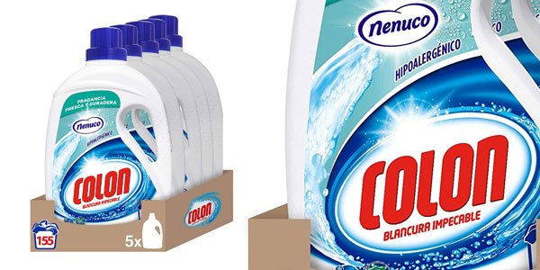 Packx5 botellas detergente líquido Colon Nenuco de 155 dosis barato en Amazon