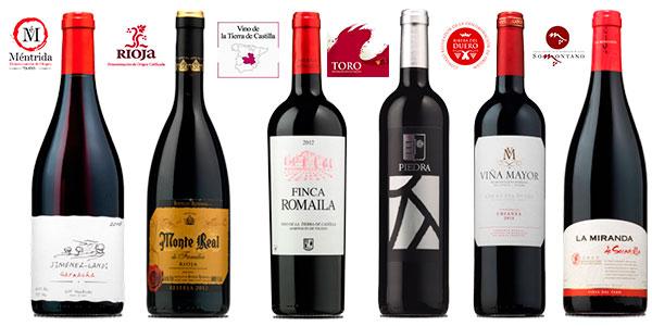 Pack de 6 botellas de vino tinto con distinta D.O. y sacacorchos de regalo en oferta