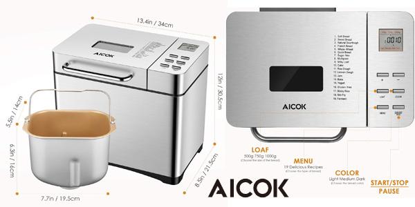 Panificadora automática Aicok MBF013 con 19 programas de acero inoxidable chollo en Amazon