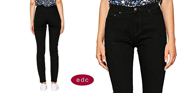 Pantalones vaqueros edc by Esprit mit hohem Bund en color negro para mujer baratos en Amazon
