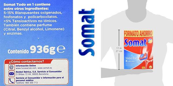 Paquete de 52 unidades Somat Todo En 1 Pastillas para lavavajillas con 8 funciones chollo en Amazon
