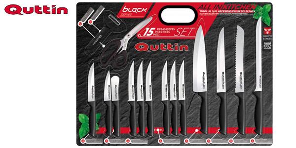 Set de 15 piezas de cocina cuchillos pelador y tijeras Quttin barato en eBay