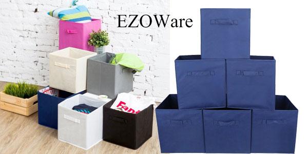 Set de 6 cajas plegables de tela para almacenaje EzoWare en varios colores barato en Amazon