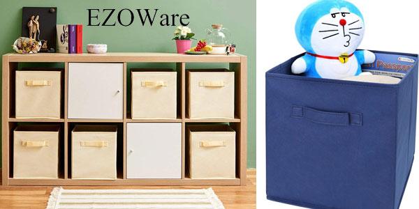 Set de 6 cajas plegables de tela para almacenaje EzoWare en varios colores chollo en Amazon