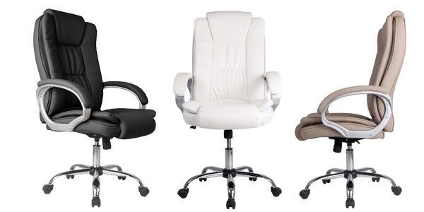 Sillón de oficina Vs Venta-Stock Confort2 elevable y reclinable de piel sintética en color negro barato en Amazon