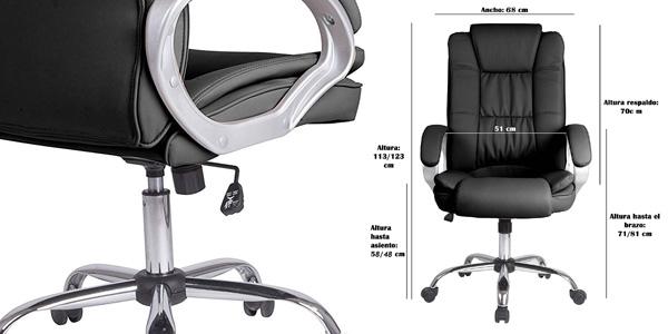 Sillón de oficina Vs Venta-Stock Confort2 elevable y reclinable de piel sintética en color gris taupe chollazo en Amazon