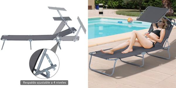 Tumbona inclinable y plegable Outsunny con parasol para playa y piscina barata en eBay