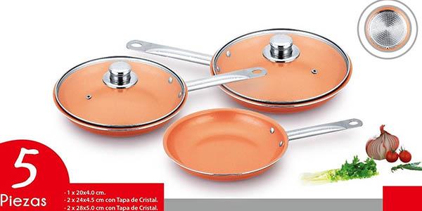 3 sartenes antiadherentes Copper Pan oferta eBay