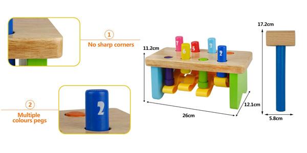 Juguete educativo banco de madera con números y martillo chollazo en Amazon