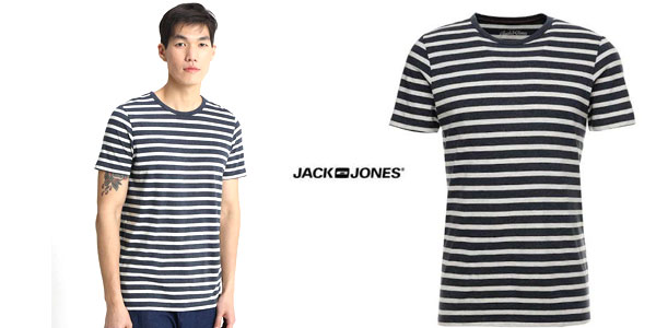 Camiseta de rayas Jack & Jones Jjestripe tee SS Crew Neck STS para hombre chollo en Amazon