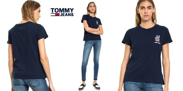 Camiseta Tommy Jeans Tjw Graphic Badge tee azul de manga corta para mujer barata en Amazon