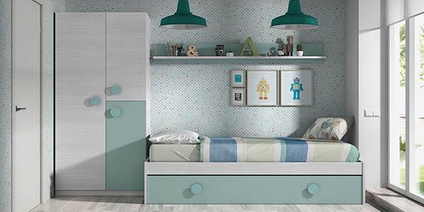 conjunto de cama nido con estantería dormitorio juvenil Duehome chollo