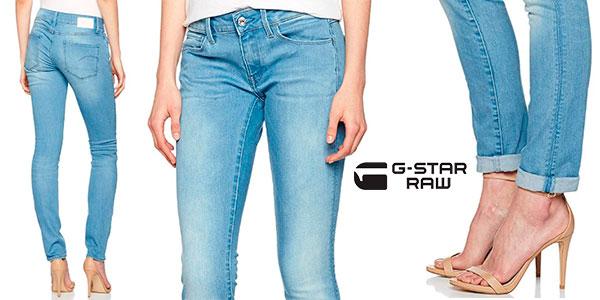 Pantalones jeans vaqueros G-Star Rawazul para mujer baratos