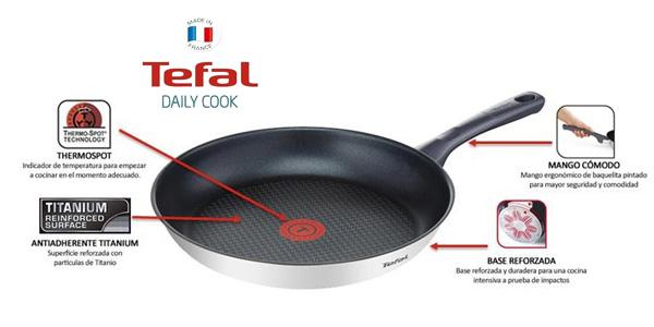 Set de 3 sartenes Tefal Daily Cook de acero inoxidable de 20, 24 y 26 cm chollo en Amazon
