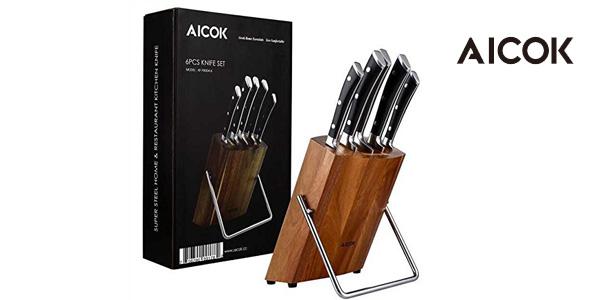 Set de 5 cuchillos de cocina de acero inoxidable y bloque de madera Aicok baratos en Amazon
