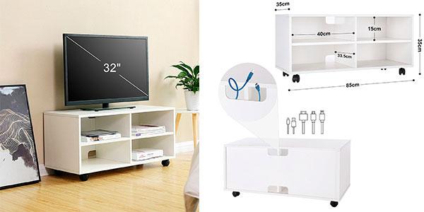 Mueble Songmics LTC02WT para TV con 4 compartimentos y ruedas de madera blanco barato