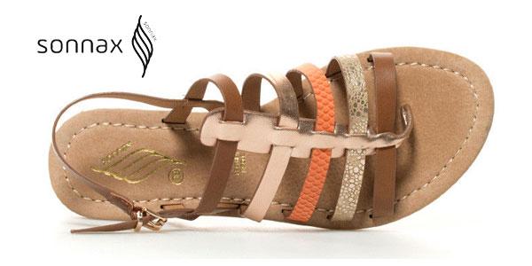 Sandalias planas Noa Sonnax con plantilla de piel y tiras multicolor para mujer chollo en eBay