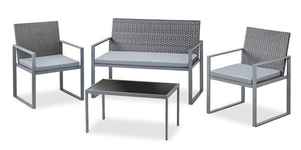 Set de 4 piezas muebles de jardín o terraza McHaus Metrópolis ratan sofa + mesita + sillas con cojin barato en eBay