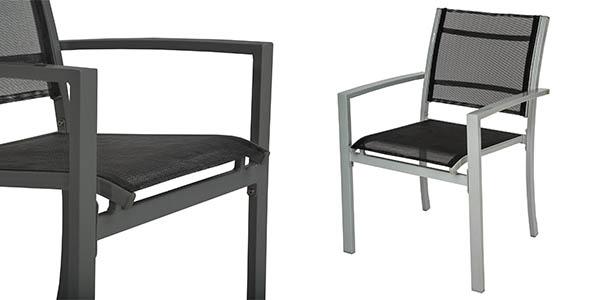 sillas de acero y poliéster resistentes al exterior con genial relación calidad-precio