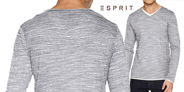 Camiseta de manga larga Esprit en color gris para hombre chollo en Amazon