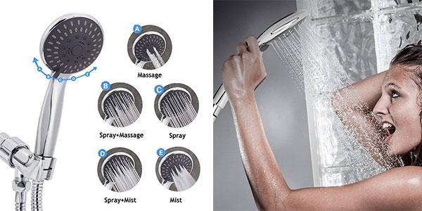 Chollo Alcachofa de ducha de mano con manguera de 150 cm con 5 modos de chorro de agua