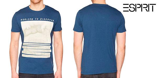 Chollo Camiseta Esprit Horizon to Discover azul de manga corta para hombre