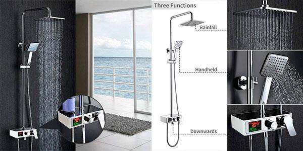 Chollo Columna de ducha con pantalla y estante de alimentación hidroeléctrica Homelody