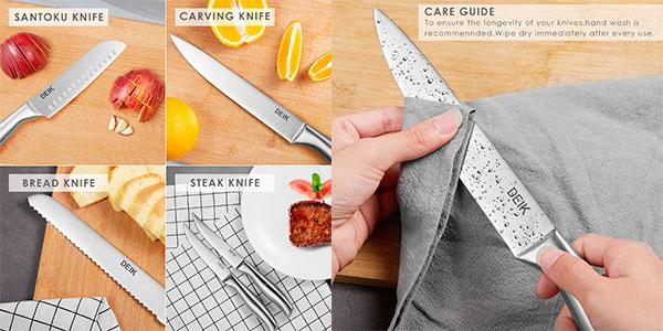Chollo Set decuchillos de cocina Deik de acero inoxidable con bloque de madera