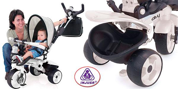 Triciclo evolutivo Injusa City Max blanco con control parental para bebés barato