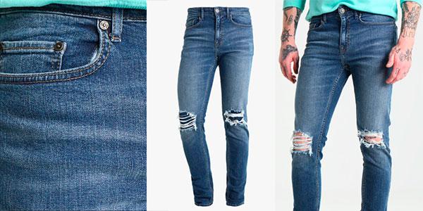 Chollo Vaqueros pitillo New Look Busted Knee de color azul para hombre