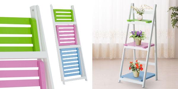 Estantería de pie plegable y multiusos con 3 estantes de madera chollo en eBay