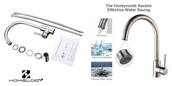 Grifo de cocina Homelody con caño giratorio y 2 tipos de chorro chollazo en Amazon