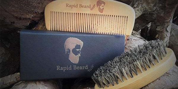 Kit Cuidado de barba Rapid Beard con cepillo y peine chollazo en Amazon