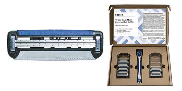 maquinilla Solimo marca Amazon pack con cuchillas de recambio con genial relación calidad-precio