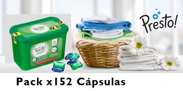 Pack Detergente en cápsulas Amazon Presto! Universal Multiusos de 152 lavados barato en Amazon