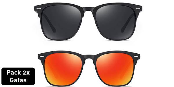Pack 2 gafas de sol polarizadas estilo Wayfarer